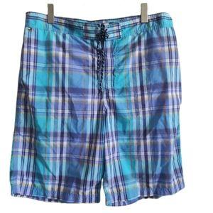 Tommy Hilfiger Blue Plaid Swim Board Shorts XL